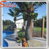 Decoração de jardim falso Artificial Palmeira de coco de fibra de vidro