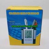 Calendário de acrílico de plástico personalizada porta-canetas do Relógio