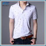 Teeshirt de polo de blanc de promotion de Mens