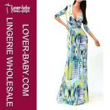 Платье женщины 2015 наиболее поздно напечатанное длинних втулок вскользь (L51208-2)