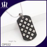 Pingente de charme quadrado personalizado em forma de jóia em aço inoxidável