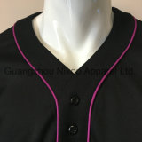 高品質は縫う刺繍された黒い野球のワイシャツを切った