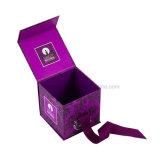 Caja de cartón plegable del perfume del regalo de encargo del cuadrado con la cinta