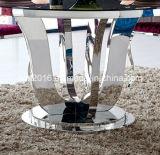 2016 Vidro moderna em aço inoxidável superior de cadeira e mesa de jantar