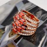 Boucle rouge de pierre gemme de modèle de boucle de bande de doigt de femme de bijou de mode