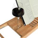 Carrello di bambù espansibile impermeabile della vasca da bagno (naturale, ecologico, smartphone, vino, supporti del libro)