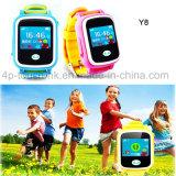 Mtk2503 téléphone intelligent de montre de traqueur des gosses GPS avec l'écran tactile coloré Y8