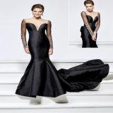 Длинняя сатинировка черноты втулки отбортовывая платье вечера Mermaid