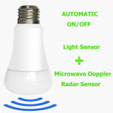 E14 E26 E27 Automático ao desligar a lâmpada da luz de LED do detector de Doppler