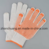 Gants pointillés par PVC blancs blanchis sans joint de coton d'anti glissade
