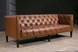 Sofà del cuoio dell'annata della mobilia del salone del blocco per grafici di legno solido