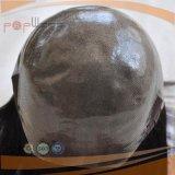 Parrucca ondulata del silicone dei capelli umani di Remy di modo nero