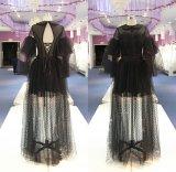 Vestido de partido preto Wgf136 do vestido dos vestidos de noite de Tulle do PONTO