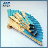 Ventilador de encargo plegable de mano de bambú promocional de encargo de la mano de la insignia de los ventiladores