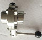 Sanitaria de acero inoxidable Válvula de mariposa de la categoría alimenticia de 304 / 316L Tc abrazadera / Soldadura / Tema / macho-hembra Conexión a máquina CNC