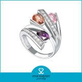 Cristal de colores plata anillos de dedo índice