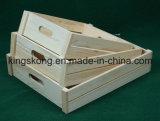 El almacenaje de la vendimia imprimió bandeja de /Wooden de las cajas de madera/del cajón de madera para las frutas/Vagetable, sistema de 3, Paulownia