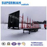 木製のキャリアのための棒が付いている三車軸貨物トラックの平面トレーラー