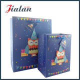 Blue Owl Personnaliser Cartoon Animal Conception 3D de sacs de papier imprimé