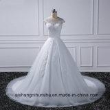 Assoalho-Comprimento elegante do vintage do laço do vestido da princesa casamento
