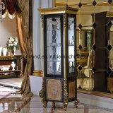 Vetrina classica di legno solido Europ di disegno reale dorato di 0061