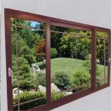 La parte superior de aluminio de diseño de paneles de Triple fijo Casement Ventana con color madera