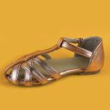 Женщин коричневый ремешок Ankel низкой пяткой квартир обувь Босоножки для леди