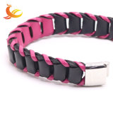 Neues Frauen-Schmucksache-Edelstahl-Haken-echtes Leder-Armband