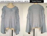 女性新式のV首のBowknotのふさのセーターの上