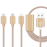 3 in-1 trenzados de nylon que cargan el cable del cargador del USB para el iPhone