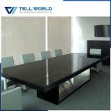 Long bureau noir extérieur solide en pierre artificiel de conférence