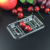Pet transparente Retacgular bandeja de fruta de plástico biodegradables