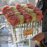 Caixa de empacotamento da flor do presente luxuoso acrílico do indicador com logotipo personalizado