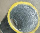 Conducto de aluminio flexible de las lanas de cristal