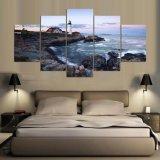 La lona moderna de los 5 paneles imprime cuadros del faro del paisaje marino de las ilustraciones a las pinturas de la foto