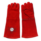 Red Cowhide Split Leather Industrial Hand Welding Work Guards