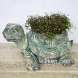 Ciano Flowerpot di figura della tartaruga di stile antico