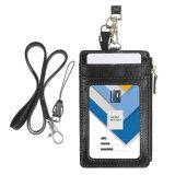 Cuero personalizada ID Badge Titular con cremallera