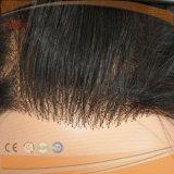 バージンの毛のレースの前部黒のかつら(PPG-l-0989)