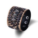 Het zilver plateerde de Gevlechte Juwelen van de Armband van het Leer van de Schedel van de Manchet