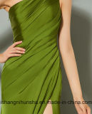 簡単な1肩の分割前部プリーツ党形式的なイブニング・ドレス