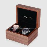 Rectángulo de reloj de madera de lujo de la nuez negra de la alta calidad