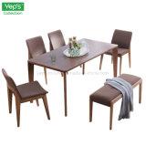 Mesa de jantar em madeira maciça e cadeira de tecido Estofados Lounge Definido