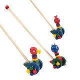 Bébé Canard de dessins animés en bois Grenouille pousser et tirer sur le long de la marche tout-petits jouets