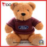 Personalizar o urso enchido da peluche do logotipo luxuoso macio com camisa de T