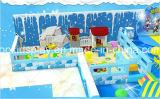 Patio de interior del tema del hielo con la pesca y el trampolín
