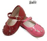 Soft PU Ratent bebé zapatos con preciosas flores en la parte superior