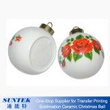 ornements en plastique de bille de Noël blanc rond imprimable de sublimation de 8cm