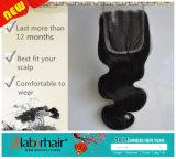 중앙 또는 Free/3 부품에 의하여 표백되는 매듭 브라질 Virgin 머리 레이스 상단 마감 스위스 레이스 처리되지 않은 바디 파 머리 Lbh 269