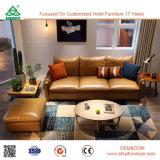 Sofá de couro tradicional da antiguidade clássica da sala de visitas da mobília